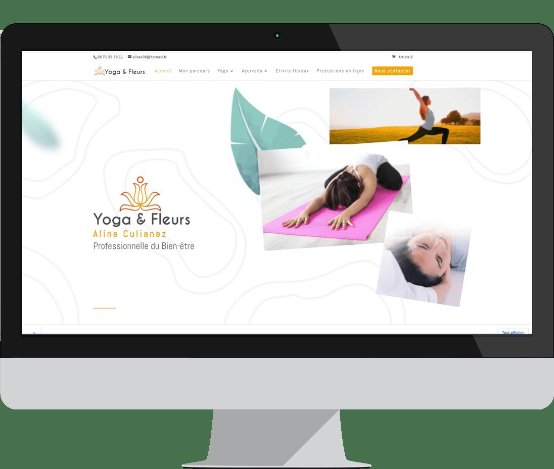 yoga et fleurs